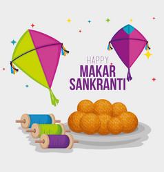 Kites and food to makar sankranti cerlebration vector