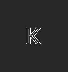 letter k logo medieval monogram black and white vector image