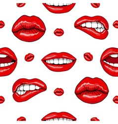 Lips Seamless Pattern in Retro Pop Art Style vector image