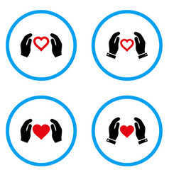 Love care hands rounded icons vector