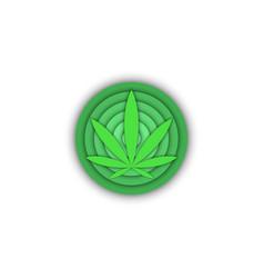 medical cannabis logo round shape 3d cannabis vector image