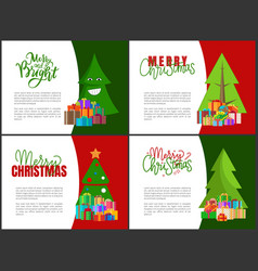 Merry christmas postcards with green xmas trees vector