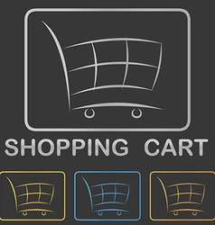 Metallic shopping cart icon button design set vector