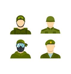 Military avatar icon set flat style vector