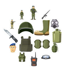 military weapon icons set cartoon style vector image
