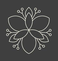 Minimalism linear flower art on dark grey vector