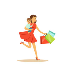 Mom with child running with shopping bags vector