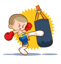 Muaythai sandbag kick vector