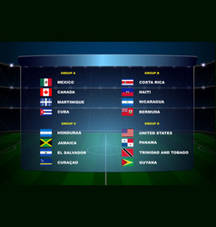 North america soccer cup groups vector