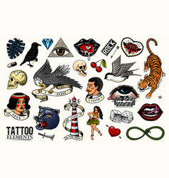Old school tattoo set tiger and lips eagle and vector
