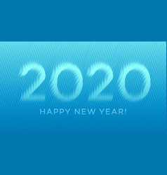 paper cut 2020 line text for celebration design vector image