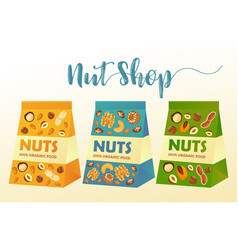 paper packs with nuts or product packages vector image