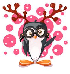 penguin deer - cartoon funny characters vector image
