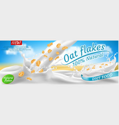 Promotion banner oat flakes in milk vector