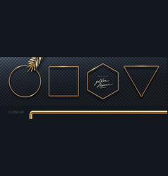 realistic 3d golden metal frames vector image
