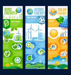 Save energy banner of solar wind and hydro power vector