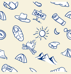 seamless pattern of hand drawn camping theme vector image