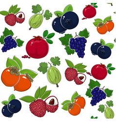 Seamless pattern sweet juicy fruits vector