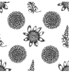 seamless pattern with black and white dandelion vector image