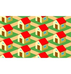Seamless pattern with houses on the street vector image
