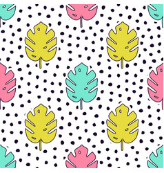 seamless pattern with monstera palm leaves vector image
