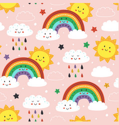 seamless pattern with rainbowrain cloud and sun vector image