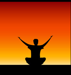seated man with their hands up vector image