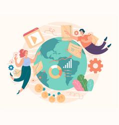 seo digital global marketing management vector image