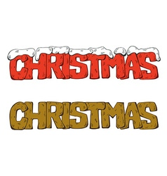 Set of Christmas lettering with snow vector image