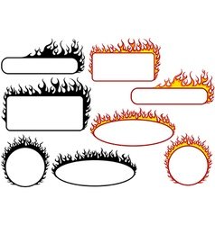 Set of fire banners vector