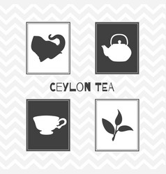set of hand drawn silhouettes tea shop posters vector image