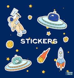 Set space cartoon stickers vector