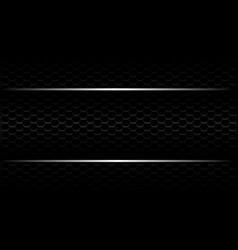 Silver line banner on black hexagon mesh vector