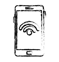 Smartphone with wifi signal device isolated icon vector
