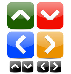 Square buttons with arrowheads vector
