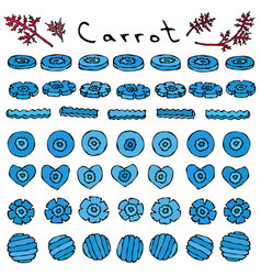 strange crazy blue carrots vegetables series vector image