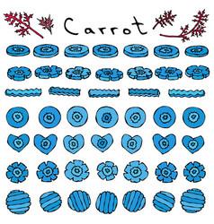 Strange crazy blue carrots vegetables series vector