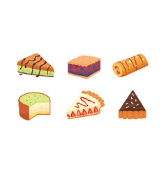 Sweets desserts objects collection strawberry vector