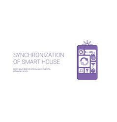 synchronization of smart house technology template vector image