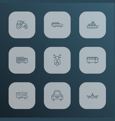transport icons line style set with campervan vector image