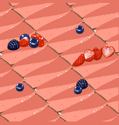 Triangular cheesecake pieses strawberry taste vector