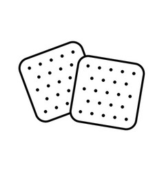 Two crackers line art icon crisp snack vector