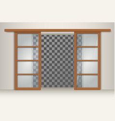 two sliding wooden doors vector image