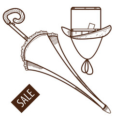 umbrella and hat vintage things outline drawing vector image