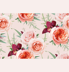 Watercolor seamless floral pattern textile peach vector