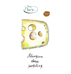 Wedge of jarlsberg danish cheese with holes vector