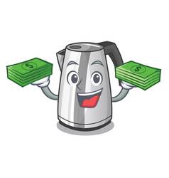 With money kitchen electric kettle on a mascot vector
