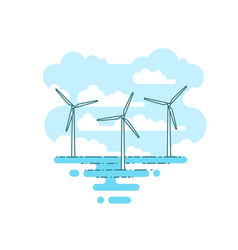 With wind turbine in the sea vector