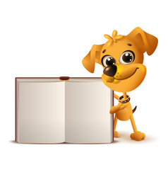 yellow dog holds open book vector image