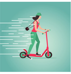 Young girl riding a scooter cartoon vector